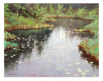 IMPRESSIONIST OIL PAINTING Landscape Painting lily pond painting river painting by Graham Gercken