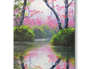 PINK WALL DECOR Original oil Painting River Landscape fine art by  Graham Gercken