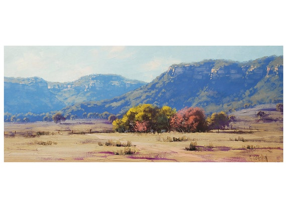AUSTRALIAN FARM PAINTING Original Landscape oil on canvas by g. Gercken