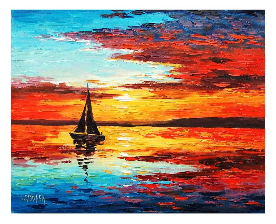 Sunset oil painting sailing boat decor by graham gercken for Cool paintings for sale