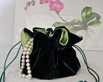 Emerald Green Velvet Jewelry Pouch for Travel or Home Use