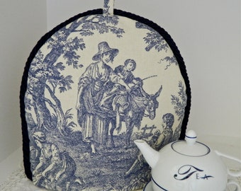 Insulated Tea Cozy in Blue and Cream French Country Toile
