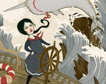 Dauntless print | 8X10 Intrepid Sailor girl illustration, nautical art feminist art  inner strength tall ship art narwhal art | Meluseena