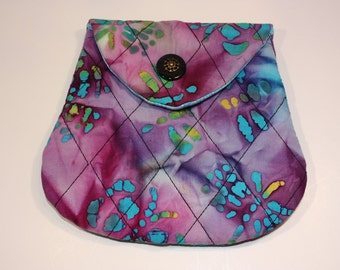 Small Clutch Quilted Purple Batik