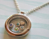 custom glass locket necklace - choose your charms