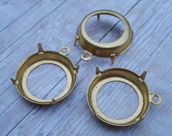 6 pcs Brass 18mm/75ss Open Back 4mm Low Wall Round 1 Ring/Loop 4 Prongs Settings for Slightly Pointed Back Jewels or Flat Back Cabs