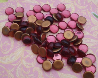 Vintage 11mm Dark Rose Smooth Top Gold Foiled Flat Back Round Glass Cabs (6 pieces)