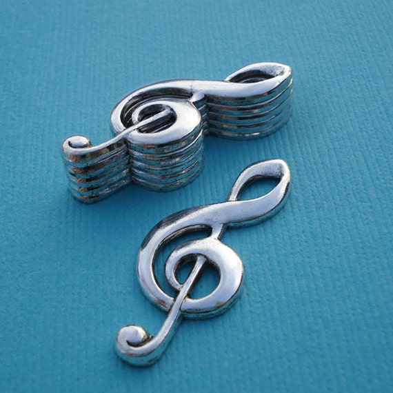 Antique Silver 31x12mm Hollowed Back Music Clef Charms Stampings  (3 pieces)