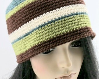 Crocheted Wool Beanie Hat. Adult. Unisex.