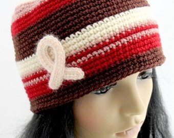Breast Cancer Awareness Hat. Wool. Beanie.