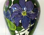 Handpainted Purple Clematis Oval Ceramic Flower Vase on Etsy