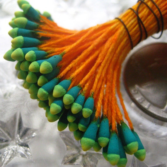 Millinery Flower Stamen Made In Germany Flower Peps 100 Stems Orange And TwoTone Green