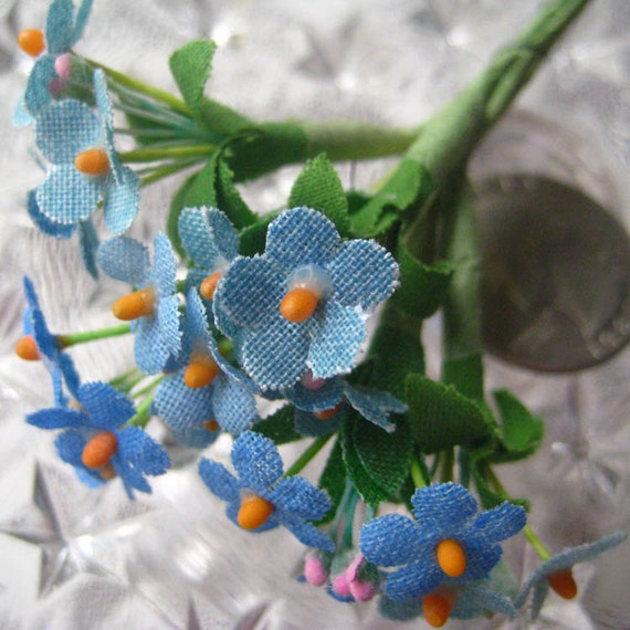 Forget Me Not Nots Vintage Fabric Millinery Flowers Made In Germany 6 Stems In Light Blue
