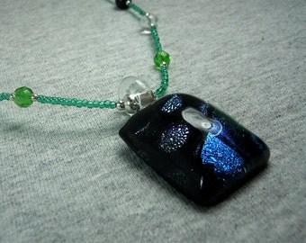 Green and Blue Dichroic Glass Pendant Necklace - CLEARANCE