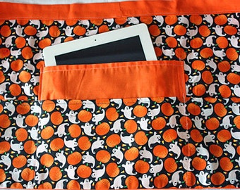 Halloween Teacher Vendor Half Waist Apron iPad Craft Orange Pumpkin Ghost Fabric ON SALE