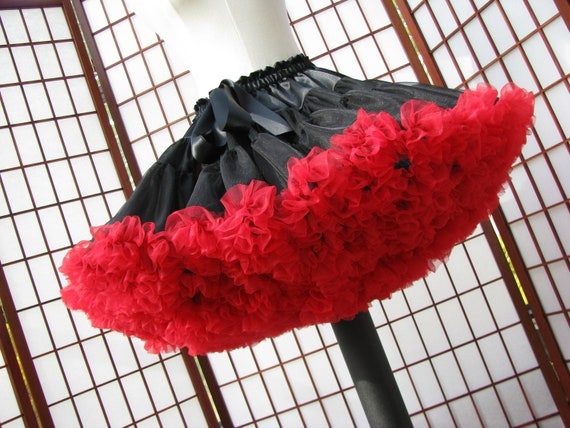 Pettiskirt Black and Red Size X-Large Custom