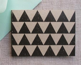 SALE - 8 Triangle Christmas Cards - Scandinavian Gocco Holiday Cards (Set of 8)