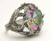Handmade Sterling Silver Green Mystic Topaz Vine Ring