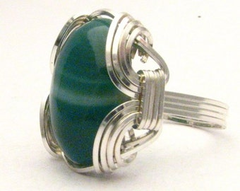 Handmade Sterling Silver Wire Wrap Green Sardonyx Ring