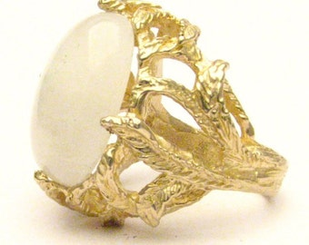 Handmade 14kt Gold Moonstone Claw Ring