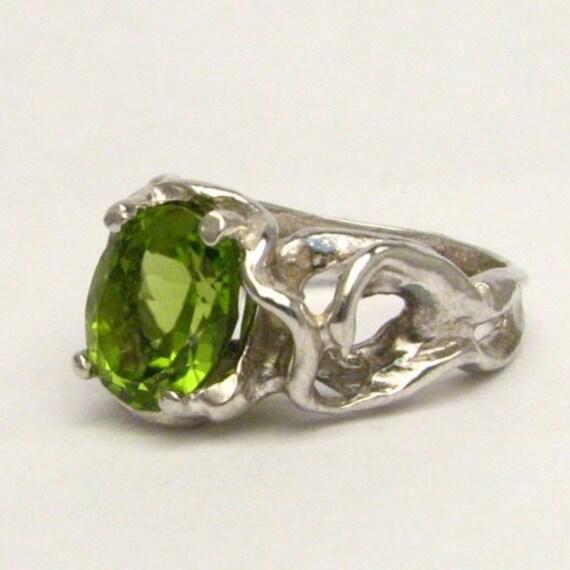Handmade Sterling Silver Gothic Peridot Gemstone Ring