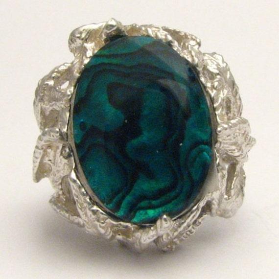 Handmade Solid Sterling Silver Green Paua Shell Ring
