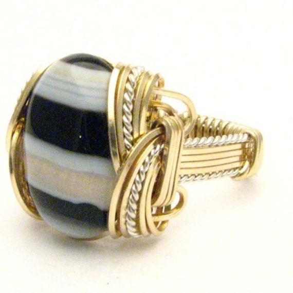 Handmade Wire Wrap Two Tone Sterling Silver/14kt Gold Filled Onyx Ring