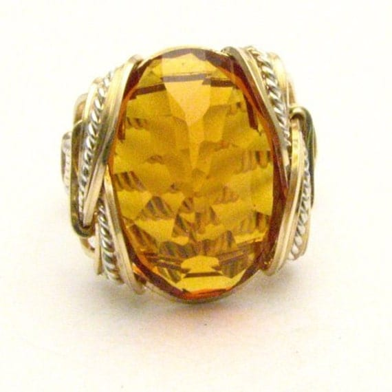 Handmade Wire Wrap Two Tone Sterling Silver/14kt Gold Filled Golden Citrine Ring