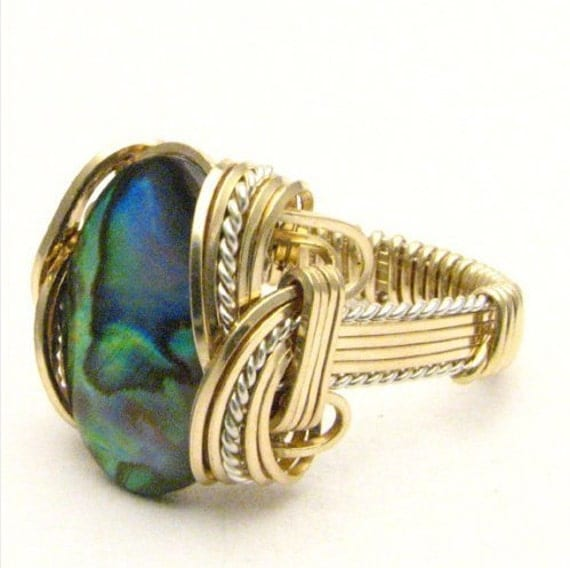 Handmade Wire Wrap Two Tone Silver/14kt Sterling Silver/14kt Gold Filled Green Paua Ring