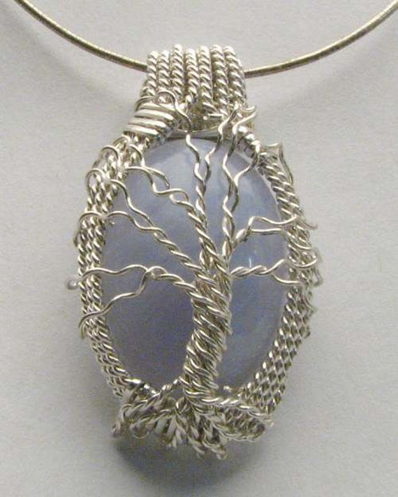 Handmade Solid Sterling Silver Wire Wrap Family Tree Blue Lace Agate Pendant