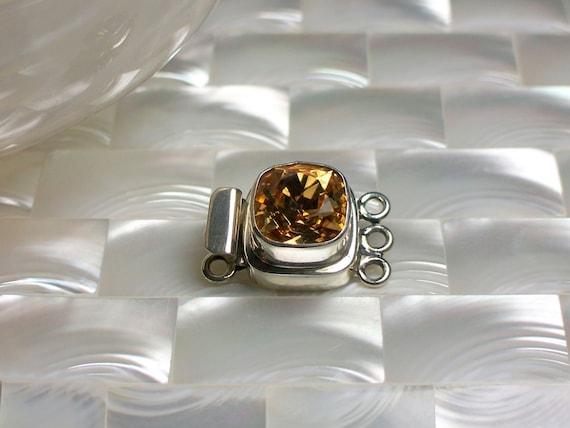 Clasp Topaz Swarovski Crystal in Sterling Silver Box clasp