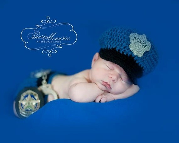 Custom Crochet Police Baby Hat