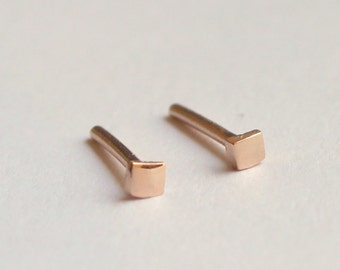 14k Solid Rose Gold 2mm Recycled Gold Tiny Dainty Simple Geometric Square Stud Earrings