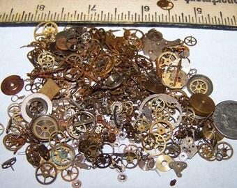 BULK Steampunk Watch Part Lot 20g Shown 300 Pieces Vintage Antique OLD Gears