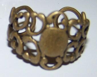 5 Sturdy New Neo Victorian Filigree Brass Finger Ring Base Blank Steampunk Watch Cabachon