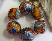 Summer Sunset - Set of Six Ribbed Rounds