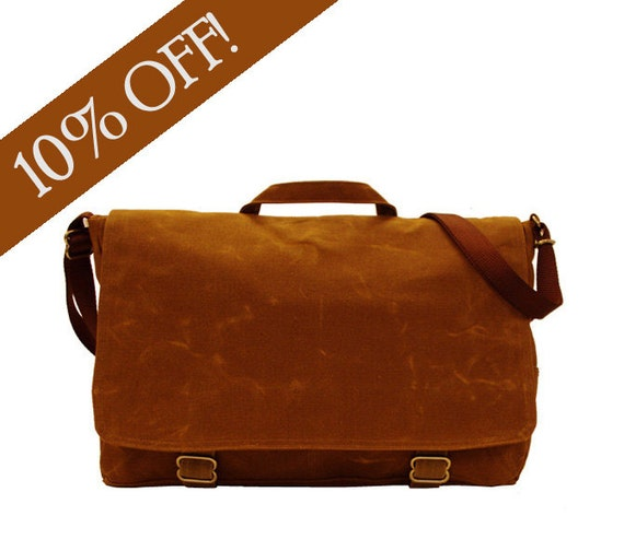 Ready to Ship Sale: Randall Messenger All Brown Waxed Canvas