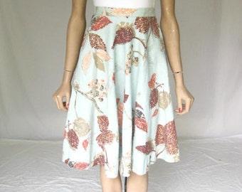Vintage 50s/ 1950s Floral Blue  Circle Skirt