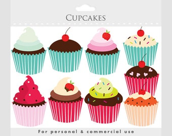 Cupcakes clipart - cupcake clip art, digital clipart for scrapbookings, cakes, bakery, sweets, frosting, chocolate