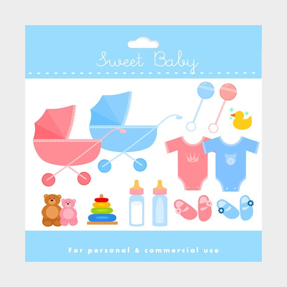 Baby clipart - stroller, baby carriage, booties, baby bottle, teddy bear, toys digital clipart for personal and commercial use