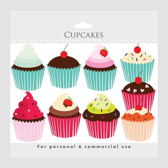 cupcakes clipart cupcake clip art digital clipart for rh etsy com clipart pics of cupcakes clip art of pancakes and bacon