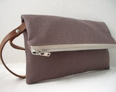 Fold Over Clutch, Wristlet - Taupe Linen Blend and Leather Wrist Strap