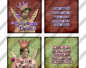 Digital collage sheet  1.5 X 1.5  Slides  Disenchanted Fairies  (Sheet no. FS175) Funny-Instant Download