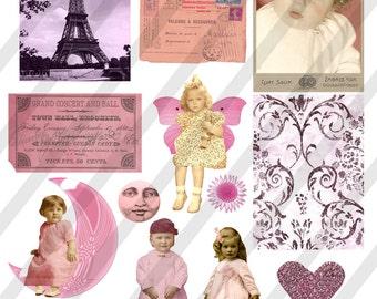 Digital Collage Sheet  Pink Images (Sheet no. O6) Instant Download