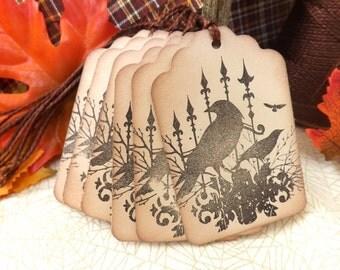 Black Crows //  Ravens Gift Tags // Vintage Inspired // Set of 6