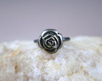 Rose Ring, Vintage Rose Ring, Fine Silver