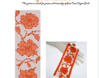 Even Count Peyote Pattern for Rose Tango Bracelet