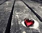 Heart Photograph Photo - Ruby, red, love, whimsical, shabby chic, gemstone, brillant - A Misplaced Heart - 8 x 10 Fine Art Print