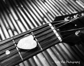 Love Guitar Photograph Photo - Heart, black and white, singer, music lover, acoustic - On the Strings of Love - 8 x 10 Fine Art Print