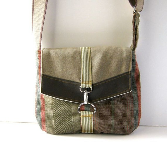 Satchel // Bohemian Striped Canvas - Smoky Gray Wool - Brown Vegan Leather
